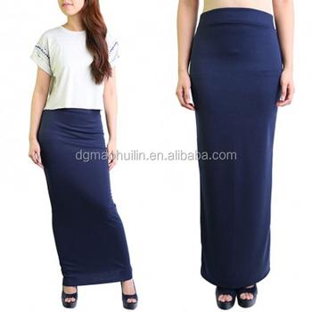 e1c1d36207 Woman Maxi Long Jersey Maxi Skirt Pencil Skirt In Navy Blue - Buy ...