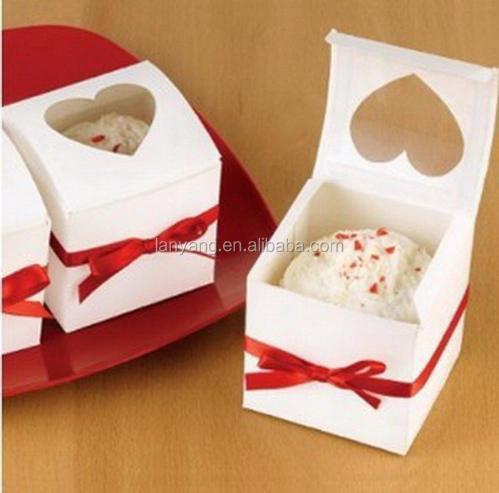 Singling Cupcake boxes 6*6*6cm White Paper Cake Boxes and Packaging For Wedding Party Favors Gifts