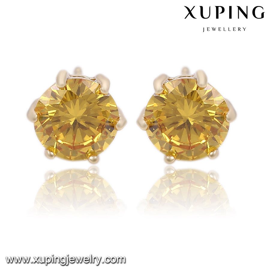 92024 xuping 2 gram gold stud beautiful designed, 14k gold color latest fashion superstar accessories earrings