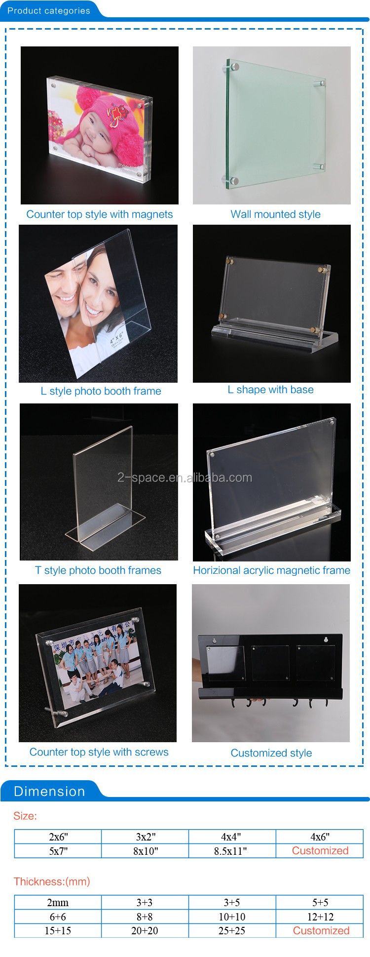 Family picture frame holder clear magnetic acrylic photo frame