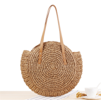 New Natural Ladies Tote large Handbag Hand-Woven Straw Bag Women Shoulder Bag Beach Holiday Bag