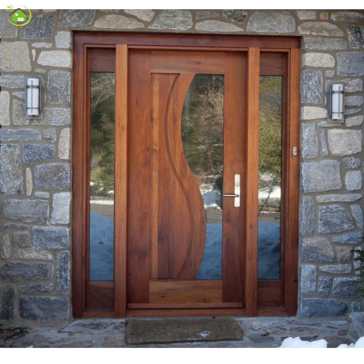 Indian Teak Wooden Front Double Door Designs With Sidelights