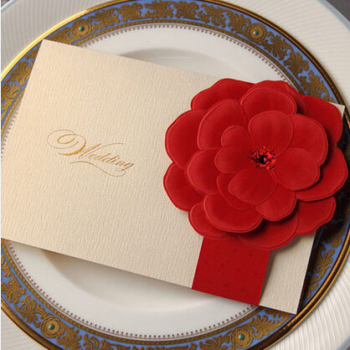 Ivory wedding invitation card with red paper craft flower design ivory wedding invitation card with red paper craft flower design cw2033 stopboris Images