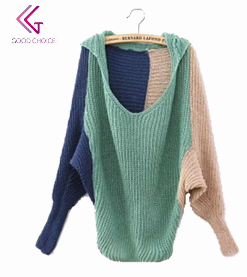 Get Quotations · New 2015 Women Fashion Casual Autumn Plus Size Loose  Knitted Hooded Sweaters Batwing Sleeve Patchwork Sweater 9e8397273