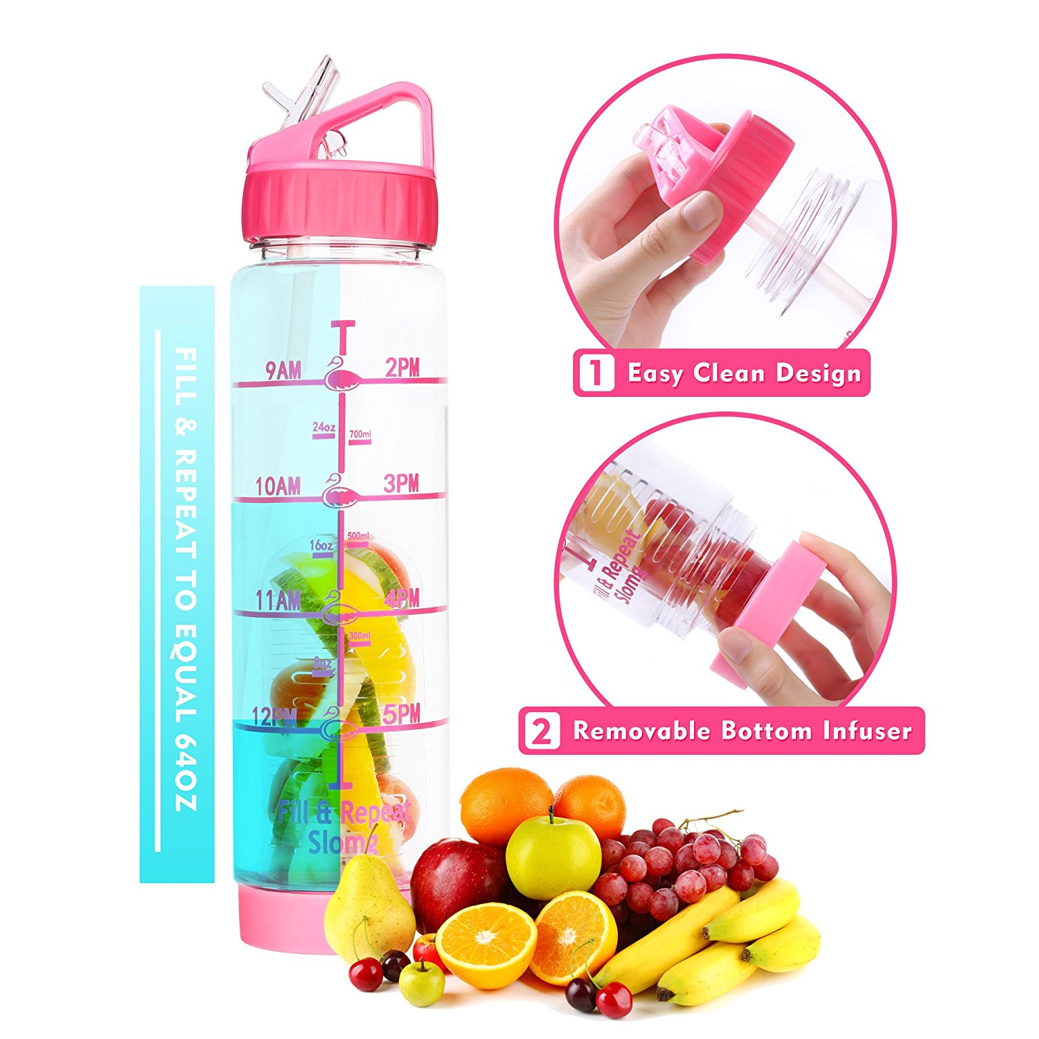 f1b5c47f0e Get Quotations · Easy Clean 32 Oz Straw Water Bottle