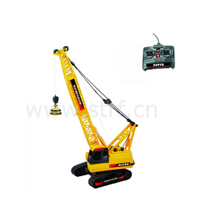 Wire control yellow color plastic toy caterpillar crane