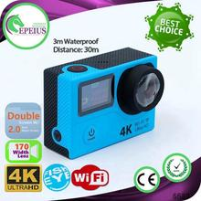 Big sales wifi daul screen H3 4k video action camera 2 Inch HD Screen Action Camcorder