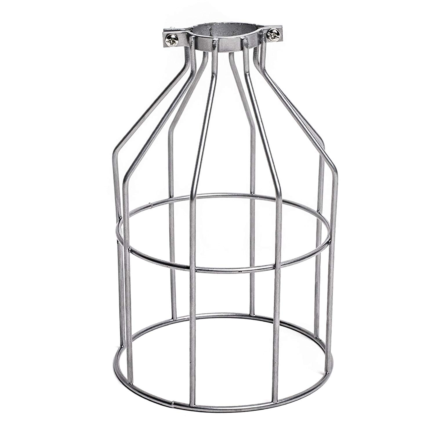 Upidlighting Metal Bulb Guard, Clamp On Steel Lamp Cage for Hanging Pendant Lights and Vintage Lamp Holders,Open Style Black Industrial Wire Iron Bird Cage (Silver)