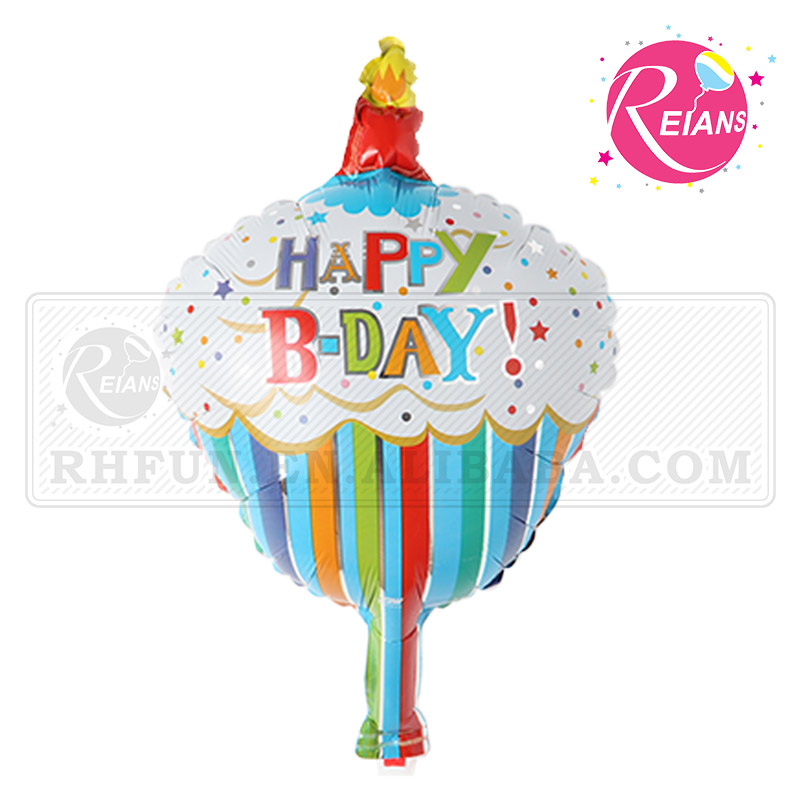 Reians customized 49*31cm happy birthday shaped cake candle foil balloon decoration party supplies baloon (Accept OEM,ODM)