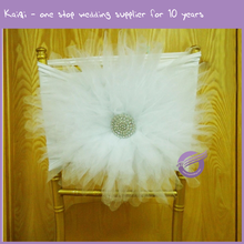 YT10288 Wedding chair decoration elastic spandex tulle flower chair sash with buckle