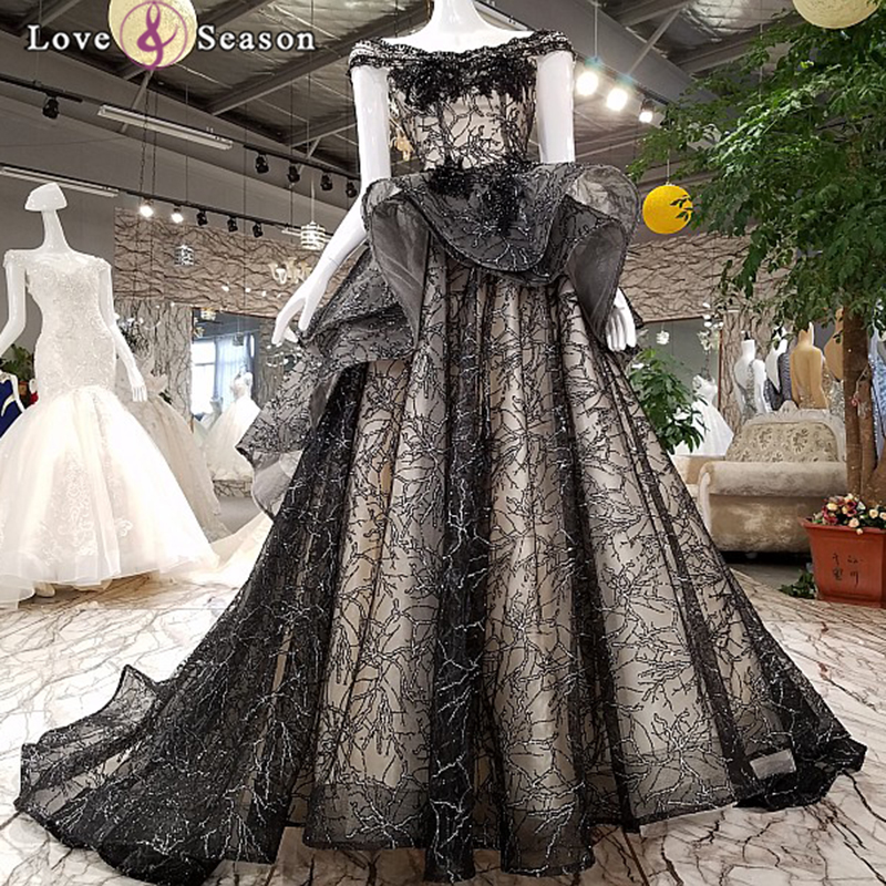 LS35112 black sweetheart latest dress pattern fashionable evening and long train prom fashion party dress