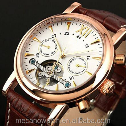 Mecano Tourbillion Mechanical Watch White Dial Rose-gold Case Week Month PU Band 5 ATM Water-resistant