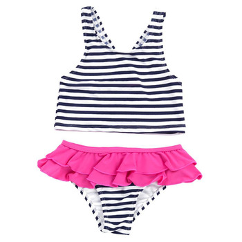 Wholesale Monogrammed Hot Selling Summer Girl's White Black Stripe Two-piece Swimsuit