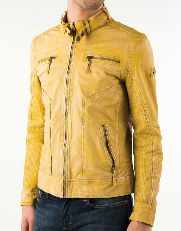 Lamb Yellow Leather Jacket Men