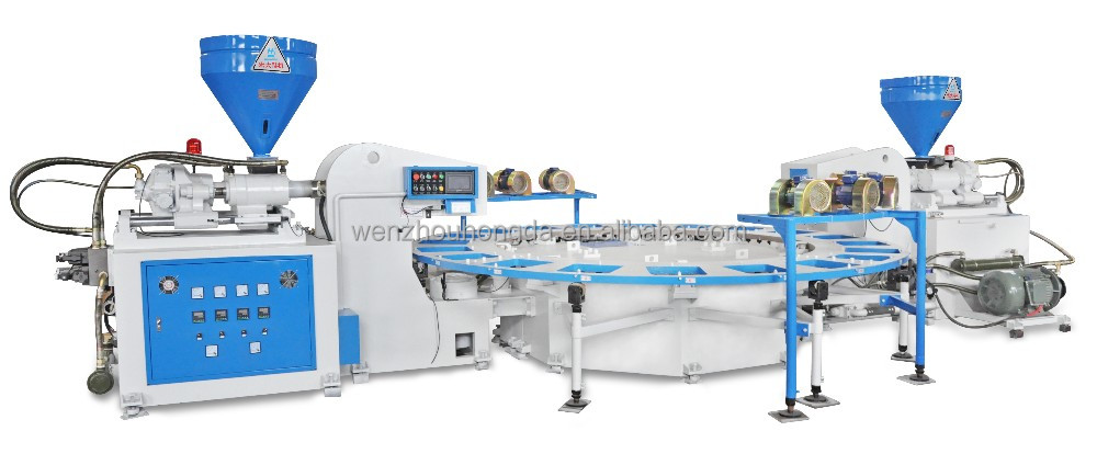 Two color PVC sole injection moulding machine/pvc rotary shoe making machine/shoes making machine