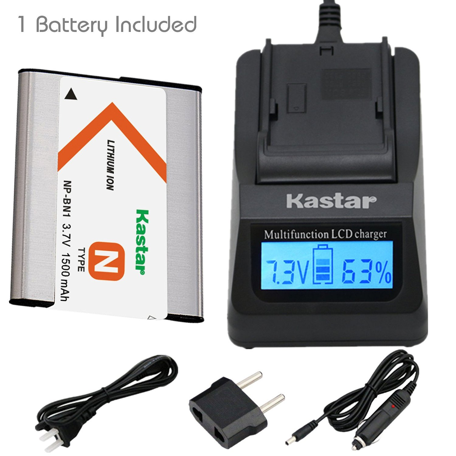 Kastar Ultra Fast Charger(3X faster) Kit and Battery (1-Pack) for NP-BN1, BC-CSN work with Sony Cyber-shot