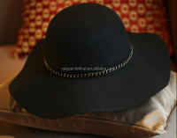Fashion wool felt floppy hat with metal lace