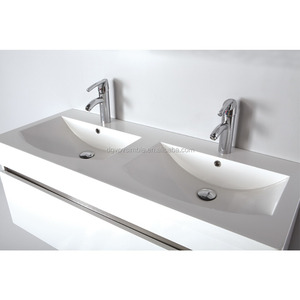 long bathroom sinks with two faucets/solid surface wash basins