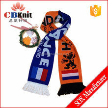 mini banner soccer fan scarf, custom print knitted football scarf