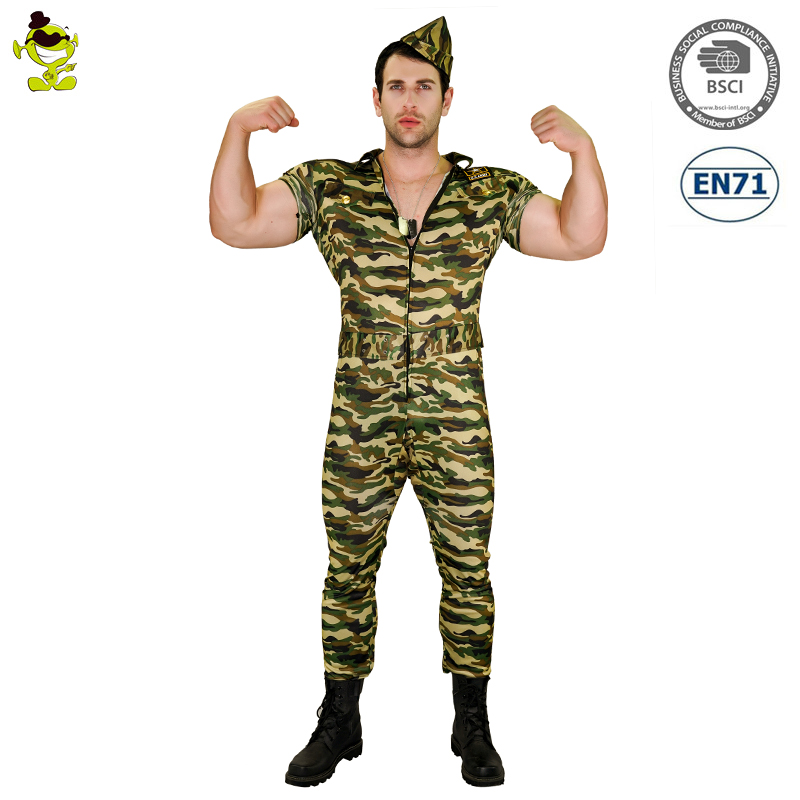 Carnival party dress men Camouflage solider costumes adult army military uniform