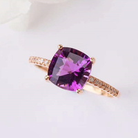 crystal jewelry rings 18k gold South Africa real diamond natural amethyst rings for women support ring gemstone wholesale
