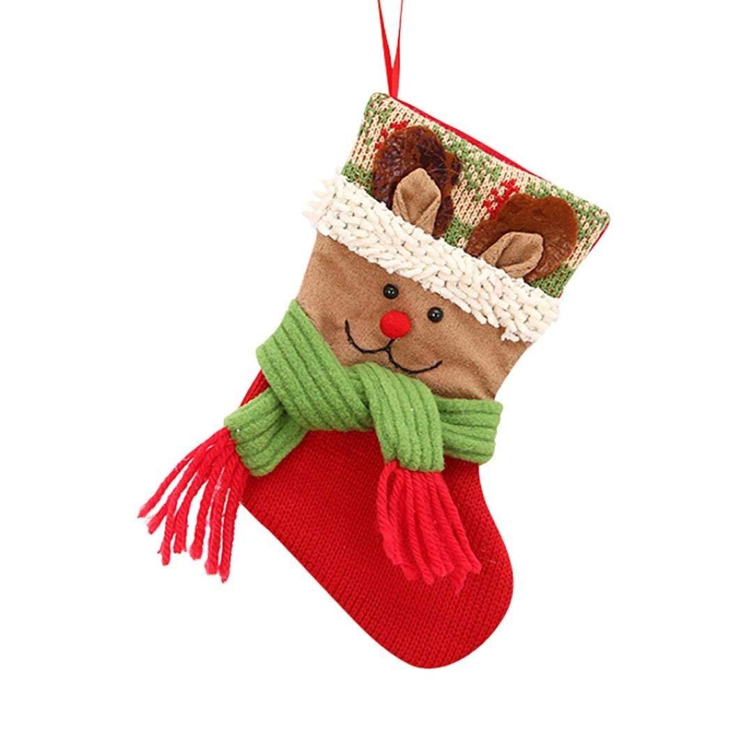 Sunfei Christmas gifts Candy Beads Christmas Santa Claus Snowman Socks Decorations (C-03)