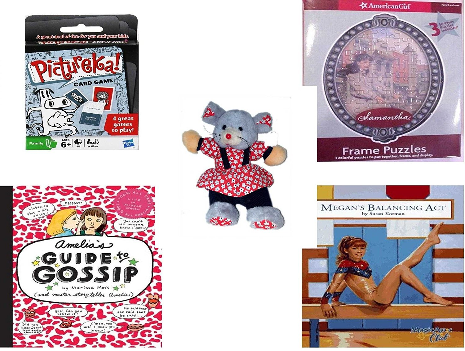 """Girl's Gift Bundle - Ages 6-12 [5 Piece] - Hasbro Games PICTUREKA Card Game - American Girl Frame Puzzles Samantha. - Play-By-Play Red Flower Patterned Girl Mouse Plush 11"""" - Amelia's Guide to Gossi"""
