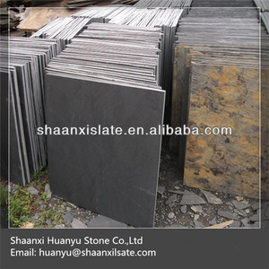 black chipped edge slate tiles
