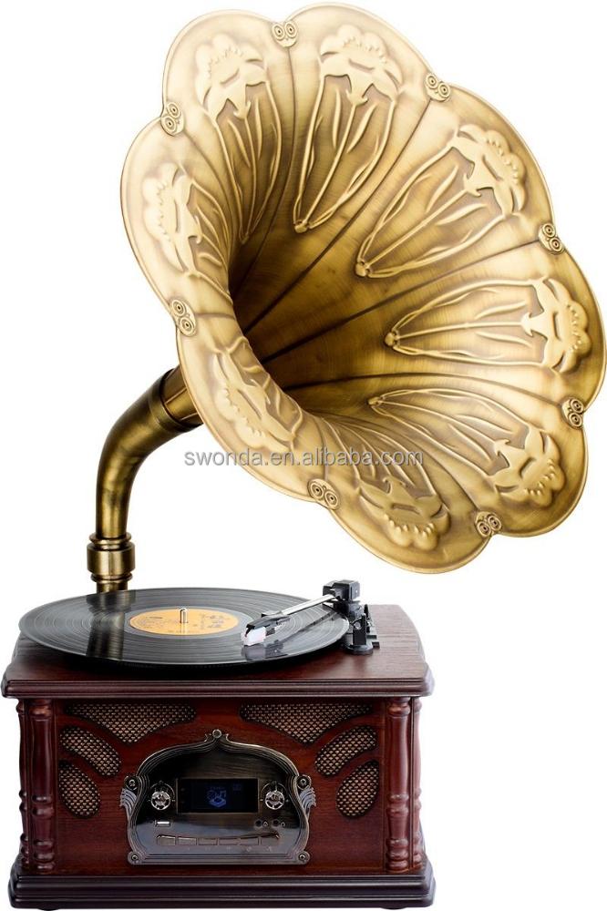 Classique phonographe avec bluetooth rocou archaize phonographe lecteur disq - Lecteur disque vinyl ...