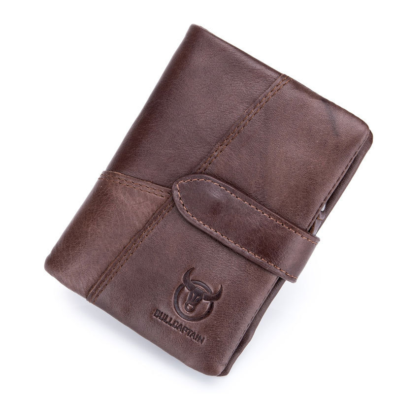 Bullcaptain Mens Real Leather Vertical Short Business Casual Style Coin Sorter <strong>Wallet</strong>