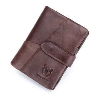 Bullcaptain Mens Real Leather Vertical Short Business Casual Style Coin Sorter Wallet