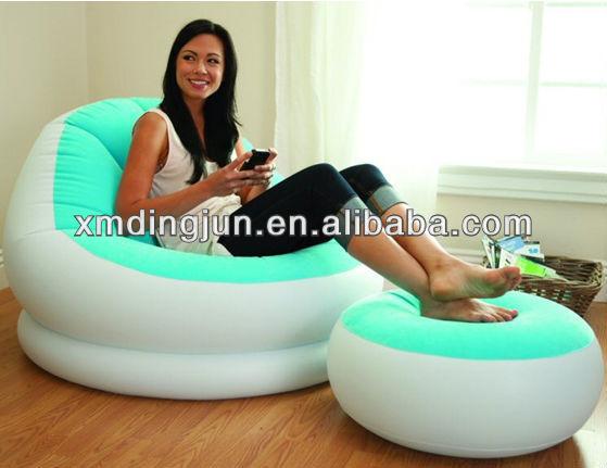 beflockt pvc aufblasbares sofa china aufblasbaren sofa stuhl aufblasbaren sessel mit fu st tze. Black Bedroom Furniture Sets. Home Design Ideas