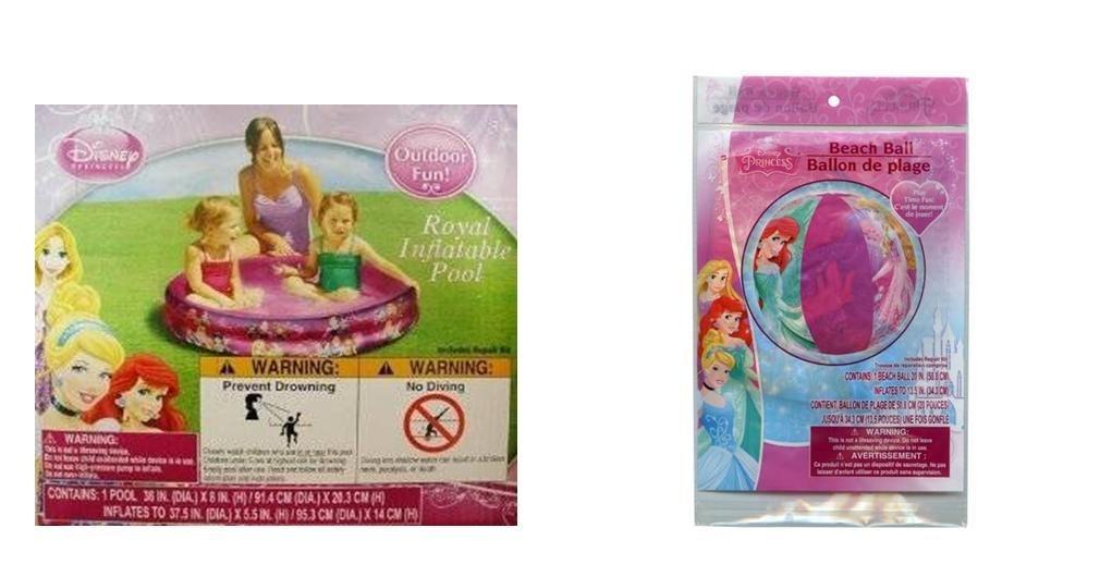 """Disney Princess Bundle - 2 items: 36"""" Inflatable Pool and 20"""" Inflatable Ball"""