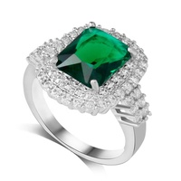 Free shipping luxury perfect cut emerald crystal CZ diamond ring with a gem for women R179