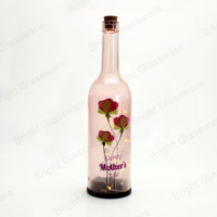 Wholesale colored painting high quality made in China glass beer wine bottle with cork stoppers