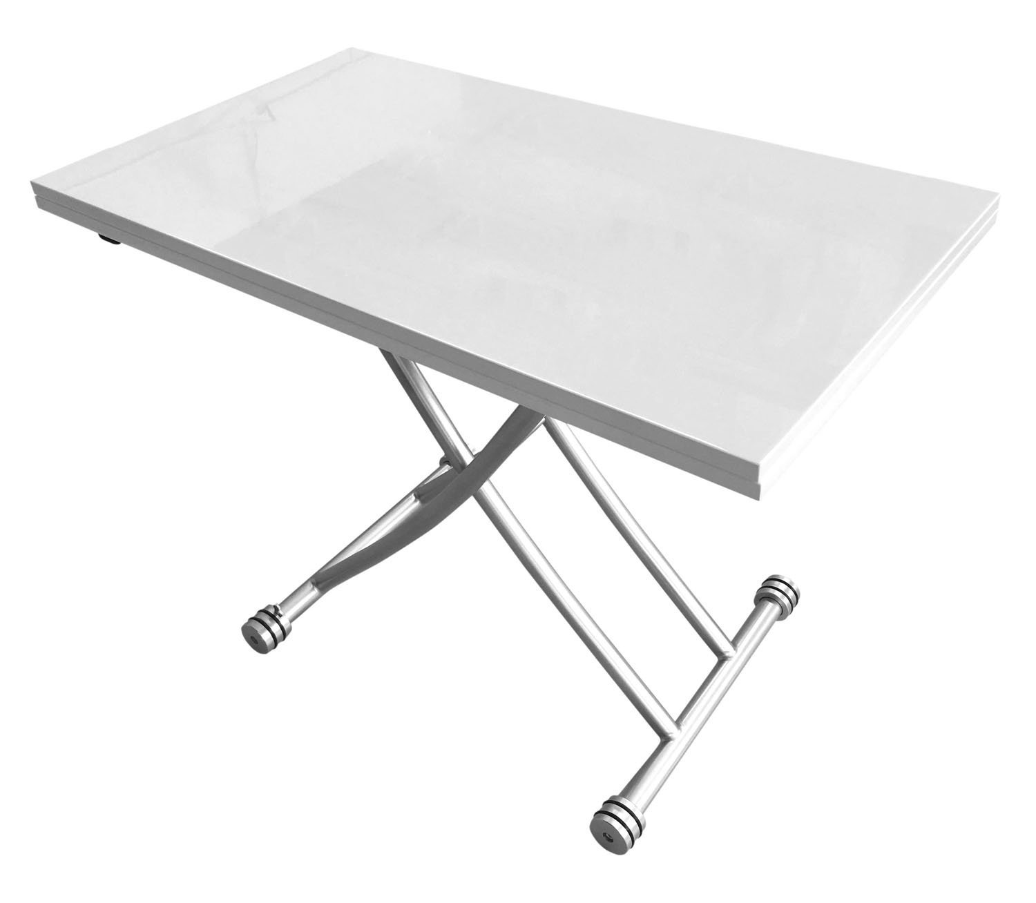 Corner Housewares Transforming X Coffee and Dining Table in High Gloss White Finish