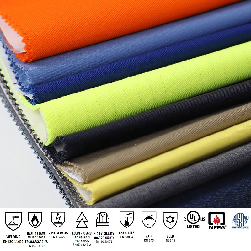 HV yellow modacrylic cotton PVC lamination Fireproof Waterproof windproof fabric for modacrylic winter coverall