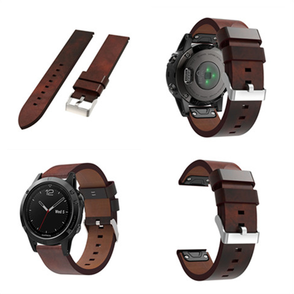 Quick Release Genuine Leather Band For Garmin Fenix 5 Watch Strap Wrist Bands