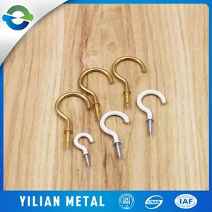 decorative cup hooks with shoulder Top Quality open eye screw hooks Galv/Black/Bp finish,hanging hook