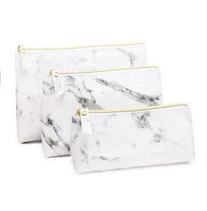 high quality pu leather tote marble plain white makeup bag
