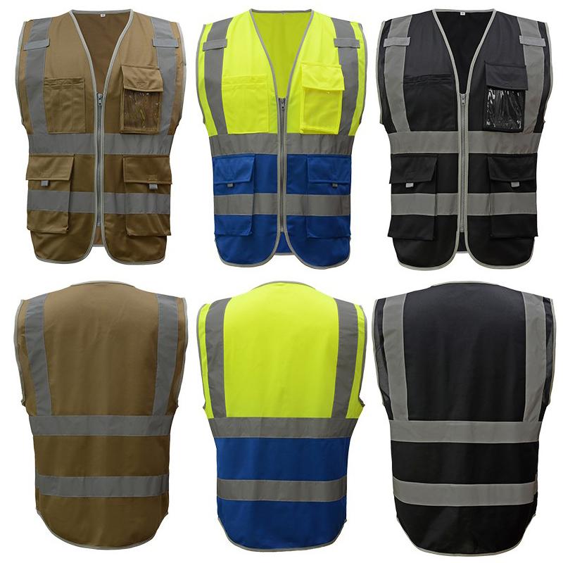 c46a4834a7 Alta visibilidade colete de segurança refletivo com Multi bolsos caqui  amarelo preto azul