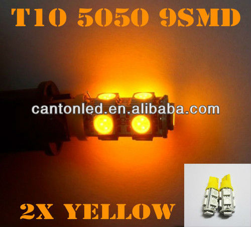 2X Amber T10 9-SMD Car LED Parking Lights Bulbs