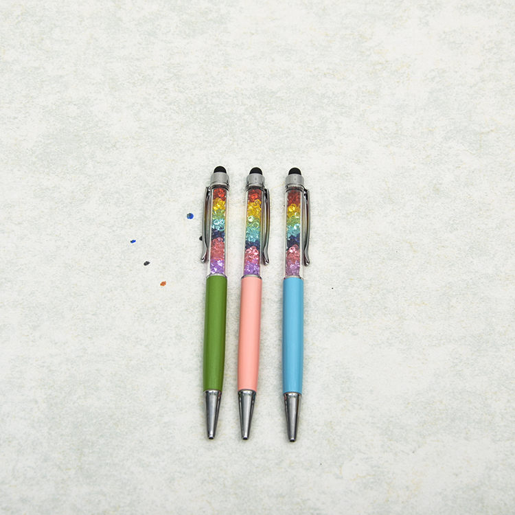 Popular fashion design colorful crystal with stylus metal pen for <strong>promotion</strong>