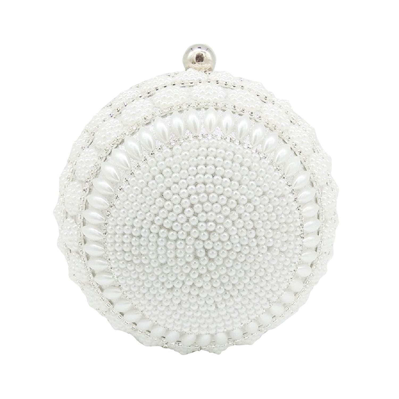Adonis Pigou Women's Pearls Round Shape Handbags Evening Clutch Wedding Purse