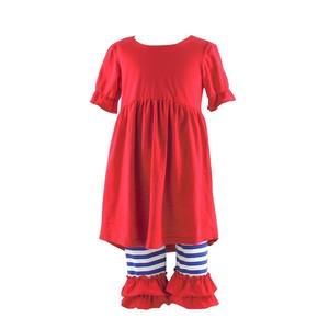 New Fashion children valentine's pear short sleeve red dress ruffle pants sets bangladesh clothing boutique girl clothing