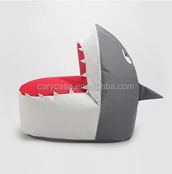 Grey Shark Bean Bag Living Room Sofa Lounger, Waterproof Oxford Kids Chair