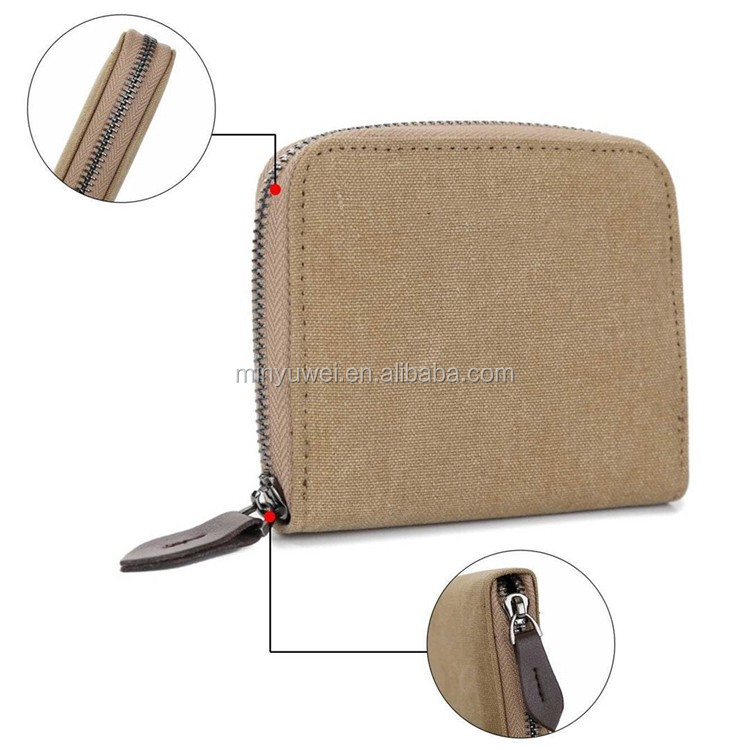 Short design zipper wallet Fashion Mens Canvas zipper wallet with coin purse