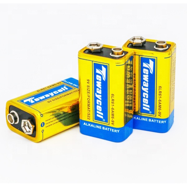 Super power Alkaline 9 v 6LR61 Pin 750 mah Zn/MnO2 6LR61 pin khô