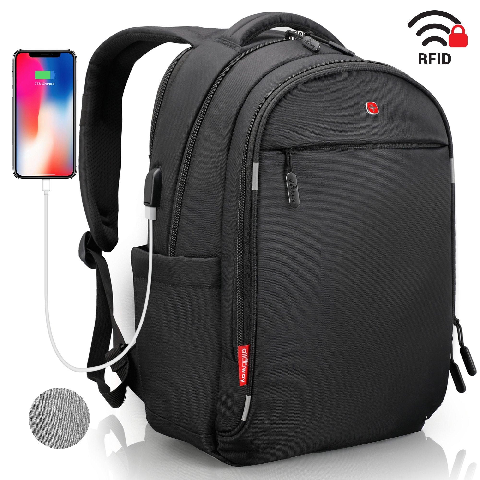 Laptop Backpack - Anti Theft Backpack Waterproof Rain Cover - SWISS Design RFID Blocking - USB Charging Port - Business College Travel School Backpack - Black Backpack for Men Women 15.6 inch