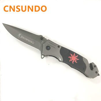 Free Shipping Browning 3Cr13MoV Steel Blade Metal G10 Handle Titanium Finish Folding Blade Knife Outdoor Tool